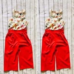 Paper Doll Girls Jumper Floral Top/Red bottom 10